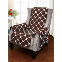 Bloomingdale Wing Chair Protector in Chocolate/Cream
