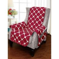 Bloomingdale Wing Chair Protector in Burgundy/Black