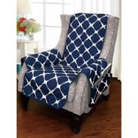 Bloomingdale Wing Chair Protector in Navy/Grey