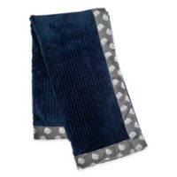 Baby Lounge Elephant Ribbed Swaddle Blanket in Dark Blue