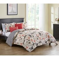 VCNY Home 5-Piece King Comforter Set in Red/Ivory