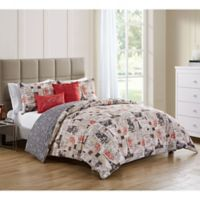 VCNY Home 5-Piece King Duvet Cover Set in Red/Ivory