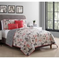 VCNY Home 5-Piece King Jolie Paris Quilt Set in Red/Ivory