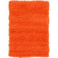 "Unique Loom Solid Shag 2'2"" X 3' Powerloomed Area Rug in Tiger Orange"