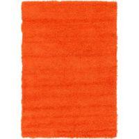 Unique Loom Solid Shag 4' X 6' Powerloomed Area Rug in Tiger Orange