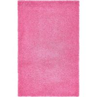 Unique Loom Solid Shag 5' X 8' Powerloomed Area Rug in Taffy Pink