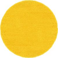 Unique Loom Solid Shag 6' Round Powerloomed Area Rug in Tuscan Sun Yellow