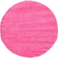 Unique Loom Solid Shag 6' Round Powerloomed Area Rug in Taffy Pink