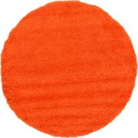 Unique Loom Solid Shag 6' Round Powerloomed Area Rug in Tiger Orange
