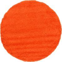 Unique Loom Solid Shag 6' Round Powerloomed Area Rug in Tiger Orange