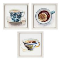 Teacup 10-Inch Square Framed Wall Art (Set of 3)