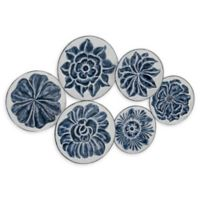 Ridge Road Décor 21-Inch x 34-Inch Eclectic Iron Floral Discs Wall Art in White/Blue
