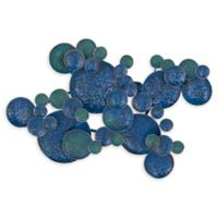 Ridge Road Decor 17-Inch x 27-Inch Eclectic Abstract Circles Metal Wall Art in Blue/Green