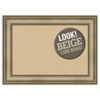 Amanti Art Beige 29-Inch x 21-Inch Framed Cork Board in Mezzanine Silver