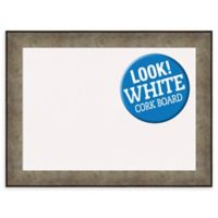 Amanti Art Pounded Metal 33-Inch x 25-Inch Framed Cork Board in Silver