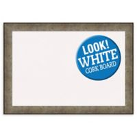 Amanti Art Pounded Metal 42-Inch x 29-Inch Framed Cork Board in Silver