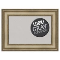 Amanti Art Small Grey Cork Board with Mezzanine Frame in Silver