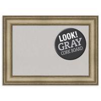 Amanti Art Medium Grey Cork Board with Mezzanine Frame in Silver