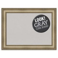Amanti Art Large Grey Cork Board with Mezzanine Frame in Silver