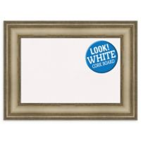 Amanti Art Small White Cork Board with Mezzanine Frame in Silver