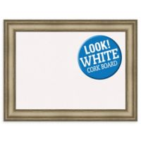 Amanti Art Large White Cork Board with Mezzanine Frame in Silver