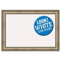 Amanti Art Extra Large White Cork Board with Mezzanine Frame in Silver