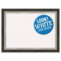 Amanti Art Large White Cork Board with 2-Tone Frame in Metallic