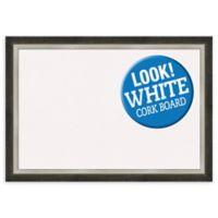 Amanti Art Extra Large White Cork Board with 2-Tone Frame in Metallic
