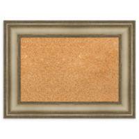 Amanti Art Small Cork Board with Mezzanine Frame in Silver