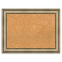 Amanti Art Large Cork Board with Mezzanine Frame in Silver