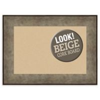 Amanti Art Small Beige Cork Board with Metal-Look Frame in Silver