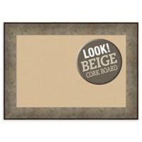 Amanti Art Medium Beige Cork Board with Metal-Look Frame in Silver