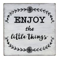 Enjoy The Little Things 6-Inch Square MDF Wood Wall Art in Black/White