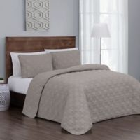 Jess Reversible King Quilt Set in Taupe