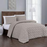 Jess 3-Piece Reversible Queen Comforter Set in Taupe