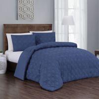 Jess 3-Piece Reversible Queen Comforter Set in Navy