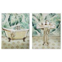 Tropical Bath 22-Inch x 14-Inch Framed Wall Art (Set of 2)