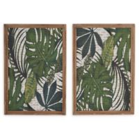 Natural Leaves 17-Inch x 25-Inch Framed Wall Art (Set of 2)