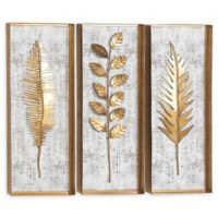 Ridge Road Décor Eclectic Gold Leaves 12-Inch x 32-Inch Framed Wall Art (Set of 3)