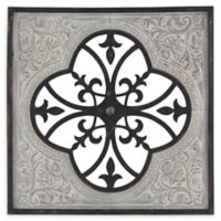 Ridge Road Décor 35-Inch Rustic Square Ornate Framed Wall Art in Black/Grey