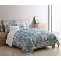 VCNY Home Eloise Reversible King Quilt Set in Blue