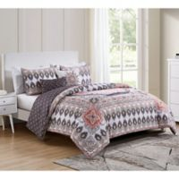 VCNY Home Valeria Reversible 5-Piece Full/Queen Comforter Set in Blush Pink