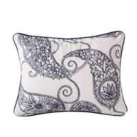 Levtex Home Giselle Paisley Oblong Throw Pillow in Cream/Navy