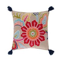 Levtex Home Jules Crewel Flower Tassel Square Throw Pillow