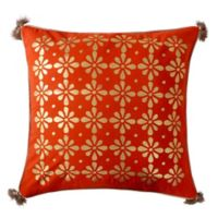 Levtex Home Sarina Gold Metallic Tassel Square Throw Pillow in Orange