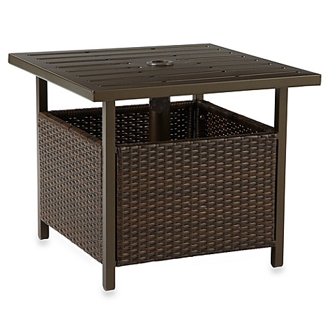 Wicker umbrella side table in bronze bed bath beyond for Bed and side tables