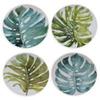 Certified International Mixed Greens Palm Leaves Dessert Plates (Set of 4)