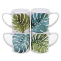 Certified International Mixed Greens Palm Leaves Mugs (Set of 4)