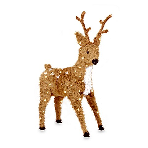 National Tree Company Creative Images 36-Inch Pre-Lit Brown Spotted Standing Reindeer w/Clear Lights