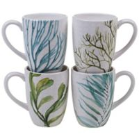 Certified International Mixed Greens Seaweed Mugs (Set of 4)